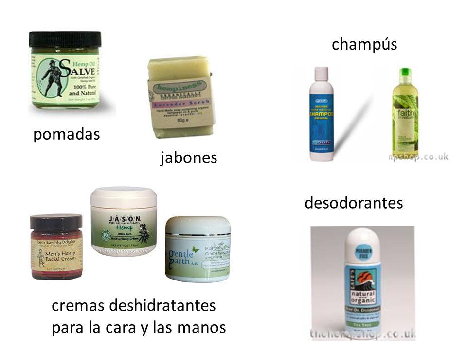champús pomadas jabones desodorantes cremas deshidratantes para la cara y las manos