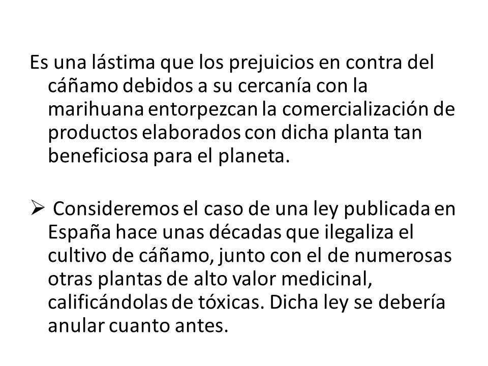 Es una lástima que los prejuicios en contra del cáñamo debidos a su cercanía con la marihuana entorpezcan la comercialización de productos elaborados con dicha planta tan beneficiosa para el planeta.