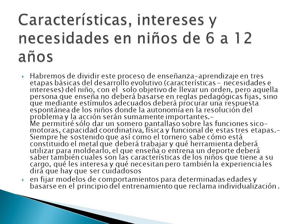 Características, intereses y necesidades en niños de 6 a 12 años