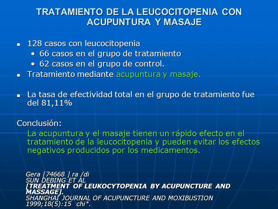 TRATAMIENTO DE LA LEUCOCITOPENIA CON ACUPUNTURA Y MASAJE