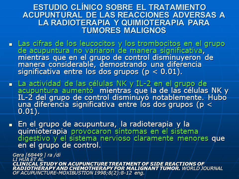 ESTUDIO CLÍNICO SOBRE EL TRATAMIENTO ACUPUNTURAL DE LAS REACCIONES ADVERSAS A LA RADIOTERAPIA Y QUIMIOTERAPIA PARA TUMORES MALIGNOS