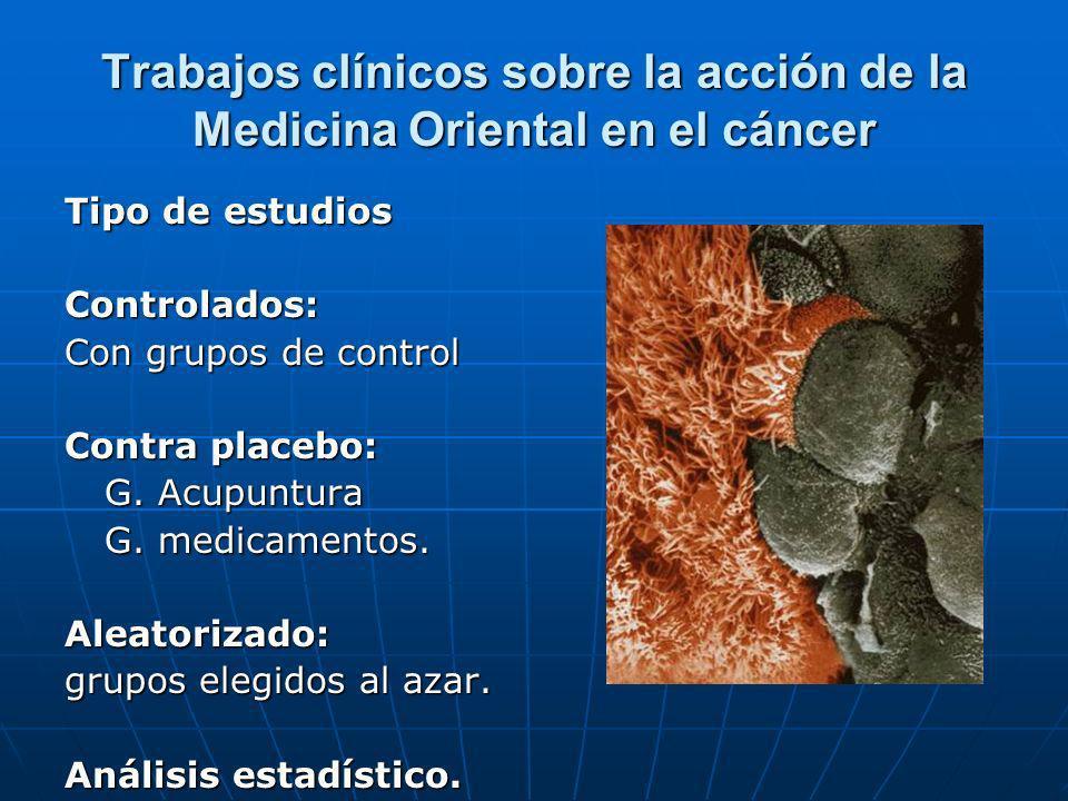 Trabajos clínicos sobre la acción de la Medicina Oriental en el cáncer