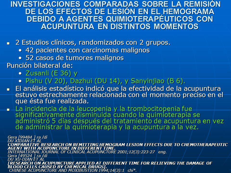 INVESTIGACIONES COMPARADAS SOBRE LA REMISIÓN DE LOS EFECTOS DE LESIÓN EN EL HEMOGRAMA DEBIDO A AGENTES QUIMIOTERAPÉUTICOS CON ACUPUNTURA EN DISTINTOS MOMENTOS