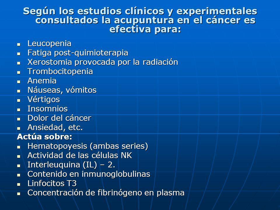 Según los estudios clínicos y experimentales consultados la acupuntura en el cáncer es efectiva para: