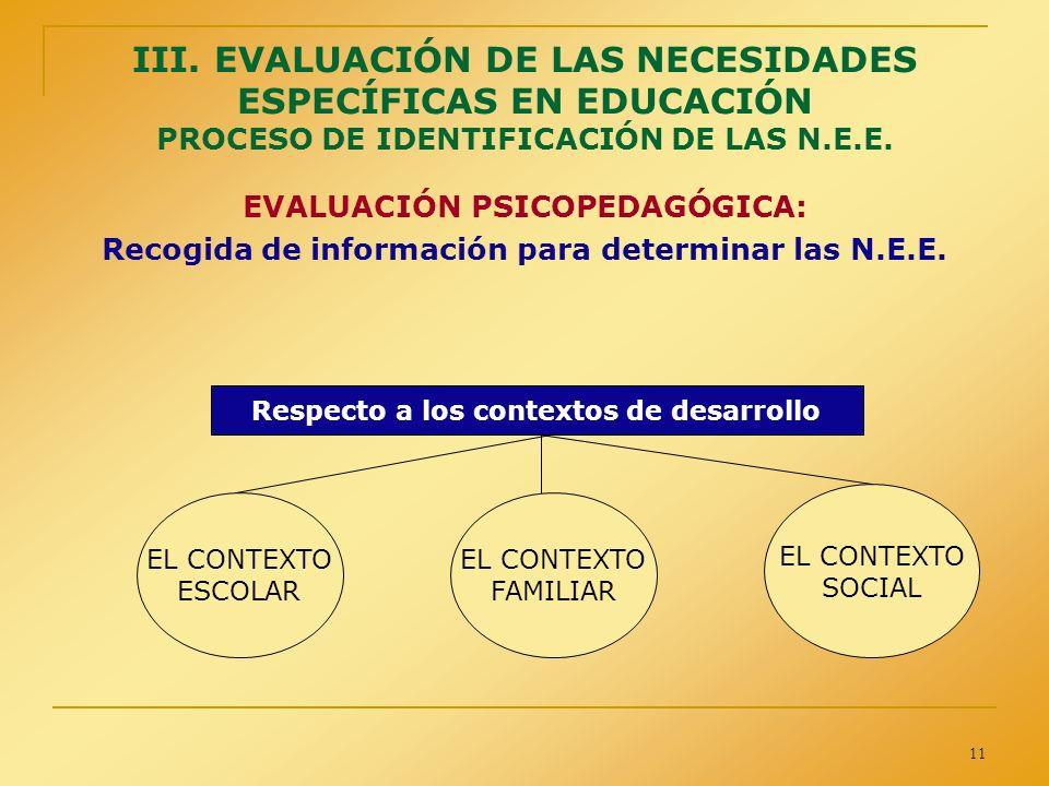 III. EVALUACIÓN DE LAS NECESIDADES ESPECÍFICAS EN EDUCACIÓN PROCESO DE IDENTIFICACIÓN DE LAS N.E.E.