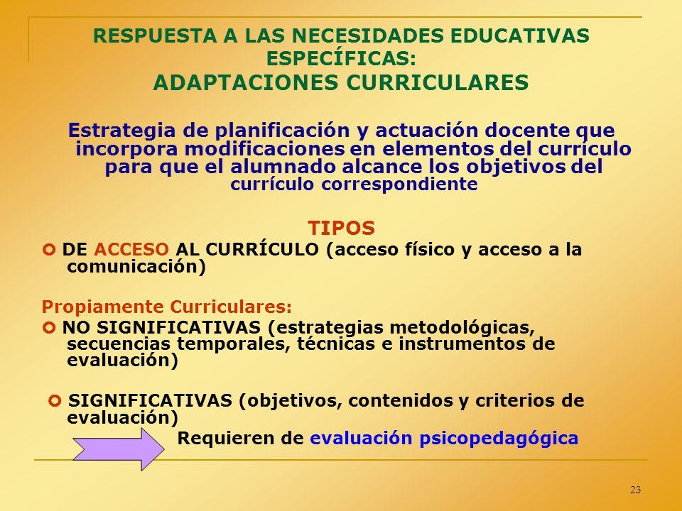 RESPUESTA A LAS NECESIDADES EDUCATIVAS ESPECÍFICAS: ADAPTACIONES CURRICULARES