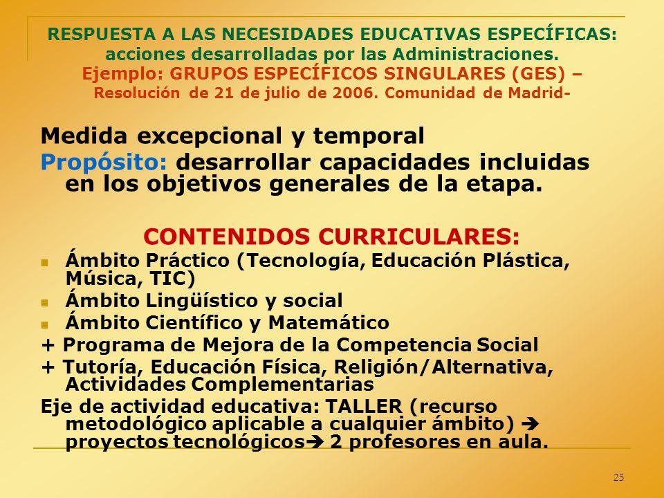 CONTENIDOS CURRICULARES: