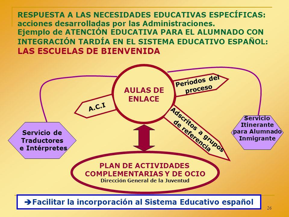 Facilitar la incorporación al Sistema Educativo español