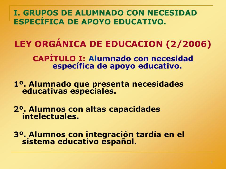 I. GRUPOS DE ALUMNADO CON NECESIDAD ESPECÍFICA DE APOYO EDUCATIVO.
