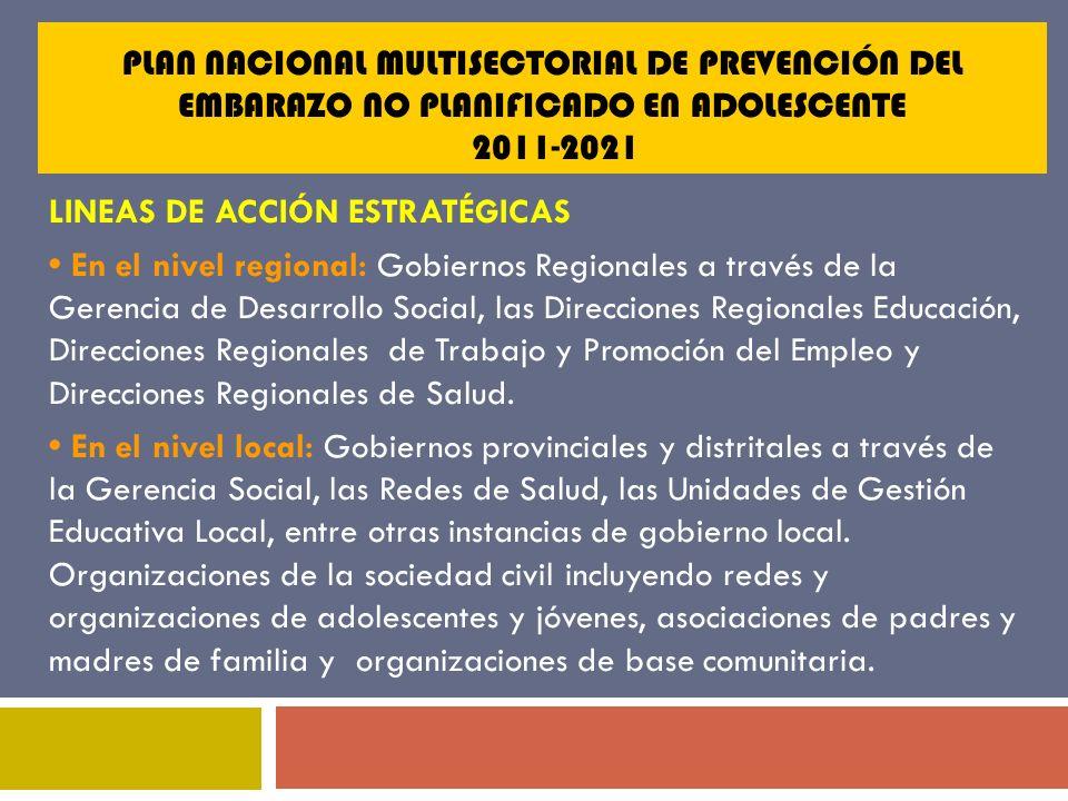 PLAN NACIONAL MULTISECTORIAL DE PREVENCIÓN DEL EMBARAZO NO PLANIFICADO EN ADOLESCENTE 2011-2021