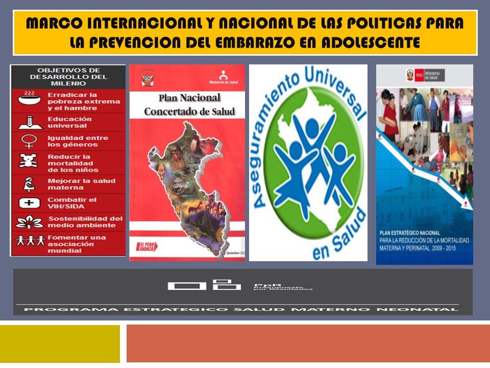 MARCO INTERNACIONAL Y NACIONAL DE LAS POLITICAS PARA LA PREVENCION DEL EMBARAZO EN ADOLESCENTE