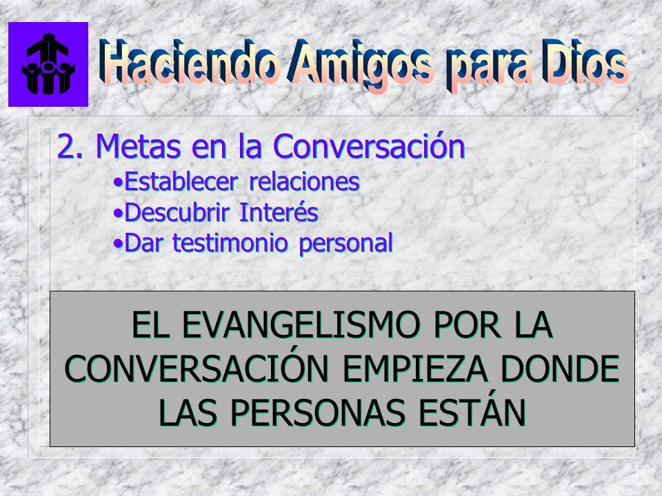 EL EVANGELISMO POR LA CONVERSACIÓN EMPIEZA DONDE LAS PERSONAS ESTÁN