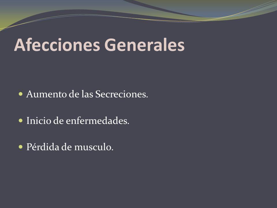 Afecciones Generales Aumento de las Secreciones.