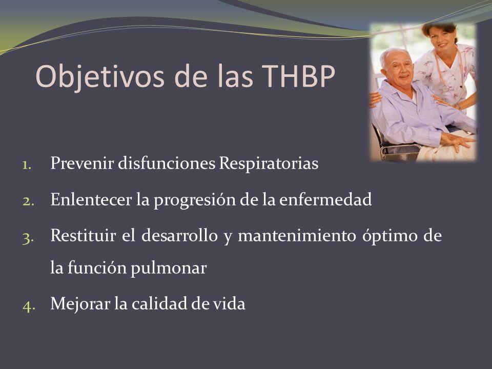 Objetivos de las THBP Prevenir disfunciones Respiratorias