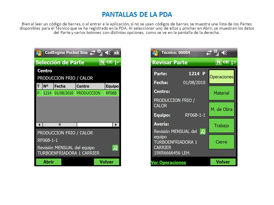 PANTALLAS DE LA PDA