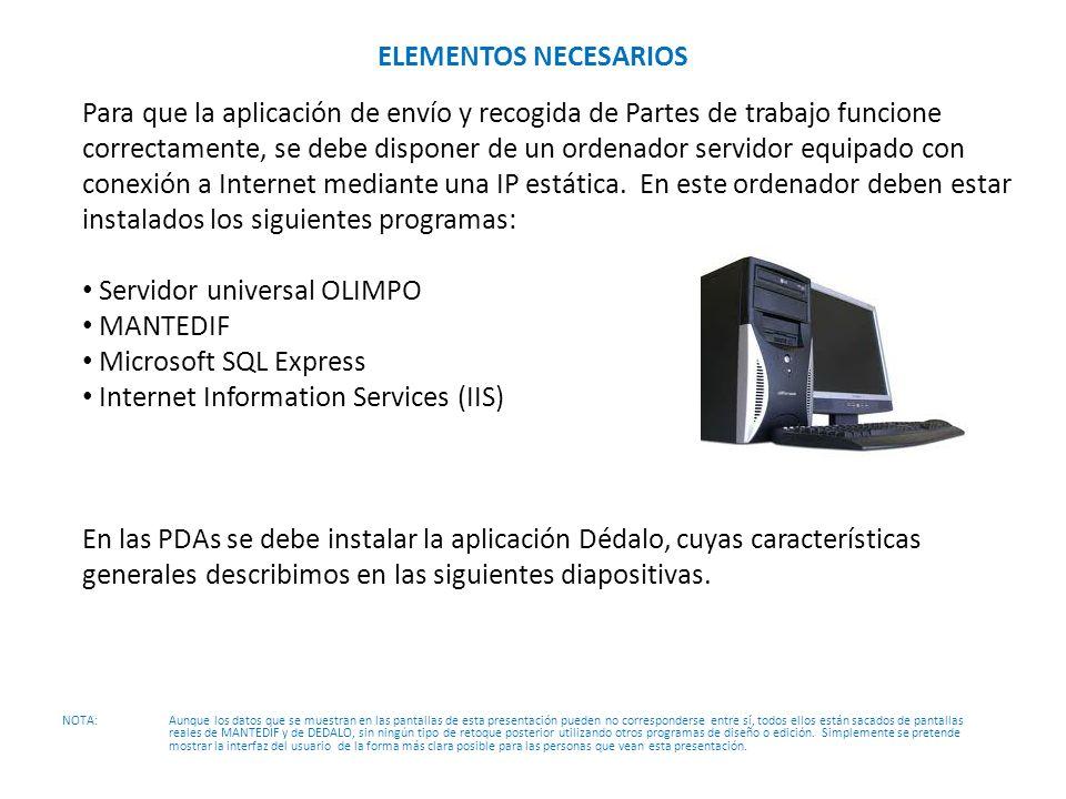 Servidor universal OLIMPO MANTEDIF Microsoft SQL Express
