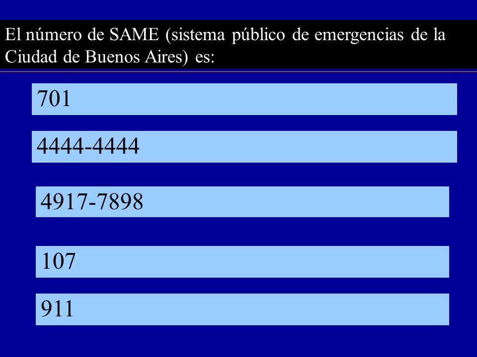 El número de SAME (sistema público de emergencias de la Ciudad de Buenos Aires) es: