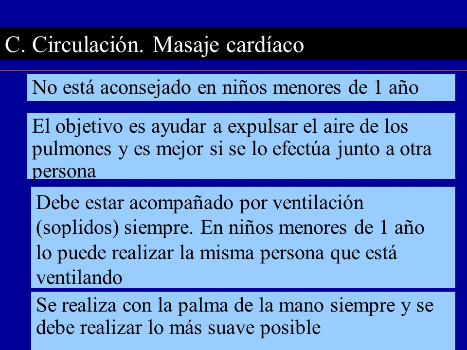 C. Circulación. Masaje cardíaco