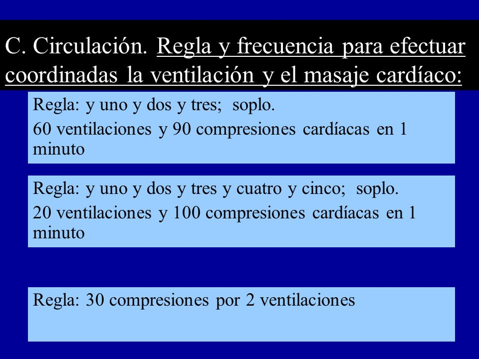 C. Circulación. Regla y frecuencia para efectuar coordinadas la ventilación y el masaje cardíaco: