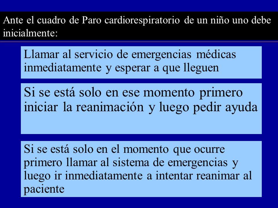 Ante el cuadro de Paro cardiorespiratorio de un niño uno debe inicialmente: