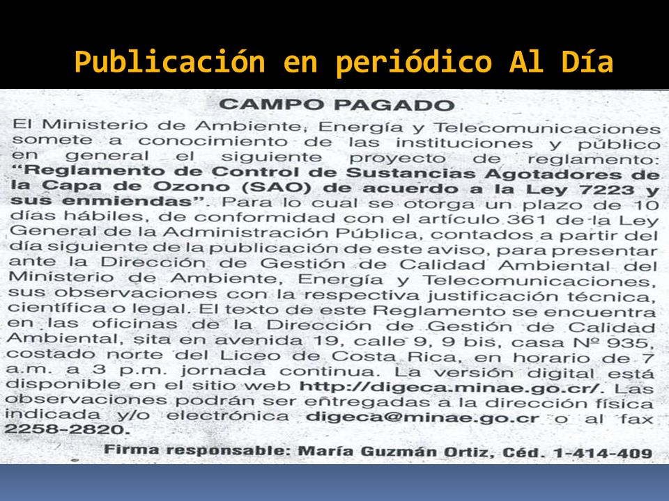Publicación en periódico Al Día