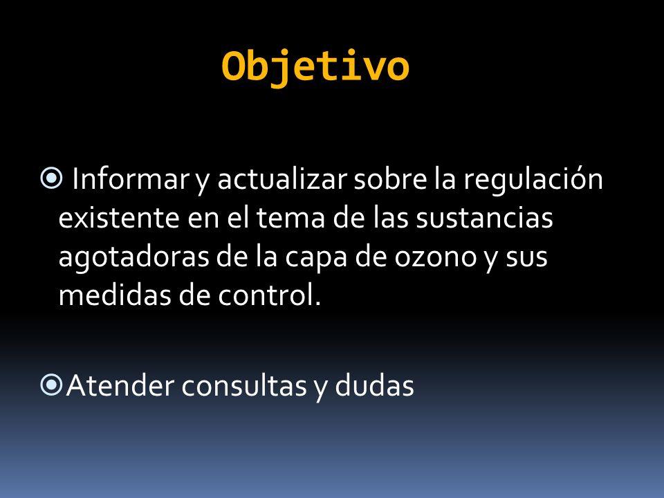 ObjetivoInformar y actualizar sobre la regulación existente en el tema de las sustancias agotadoras de la capa de ozono y sus medidas de control.
