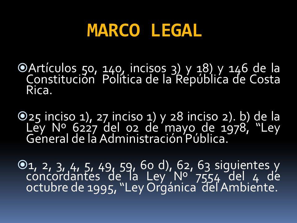 MARCO LEGALArtículos 50, 140, incisos 3) y 18) y 146 de la Constitución Política de la República de Costa Rica.