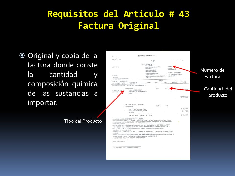 Requisitos del Articulo # 43 Factura Original