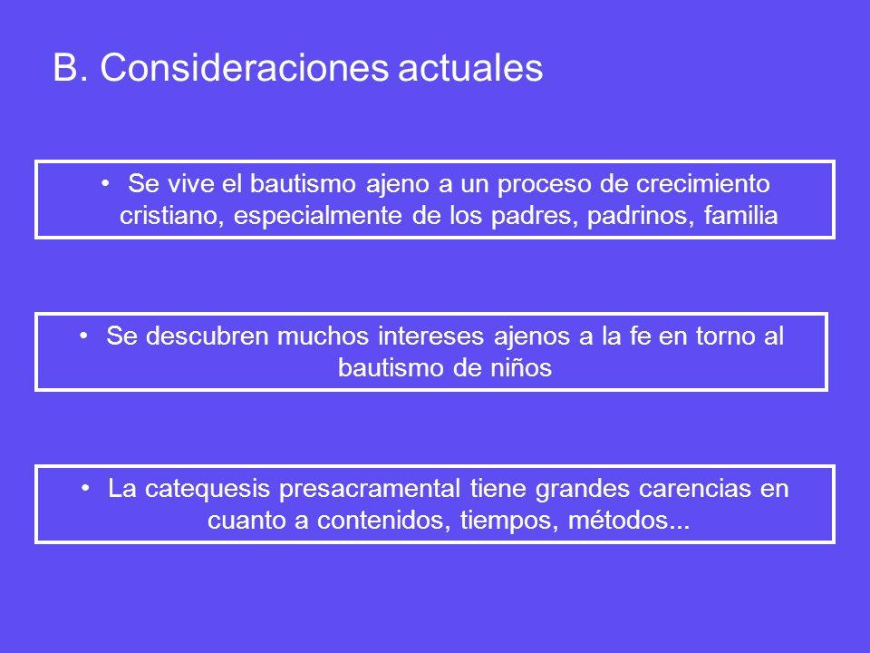 B. Consideraciones actuales