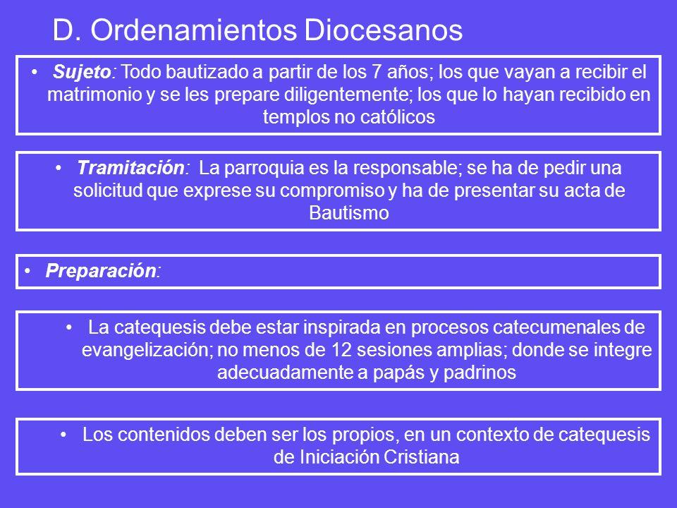 D. Ordenamientos Diocesanos