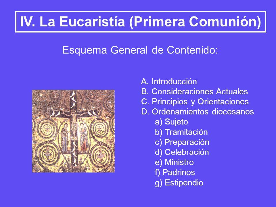 IV. La Eucaristía (Primera Comunión)