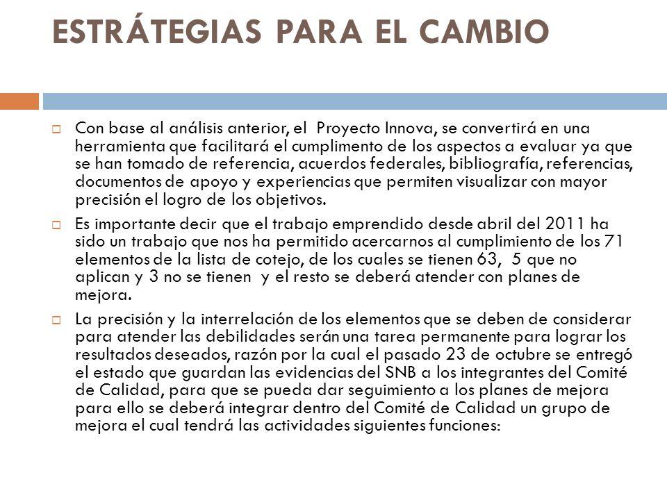 ESTRÁTEGIAS PARA EL CAMBIO