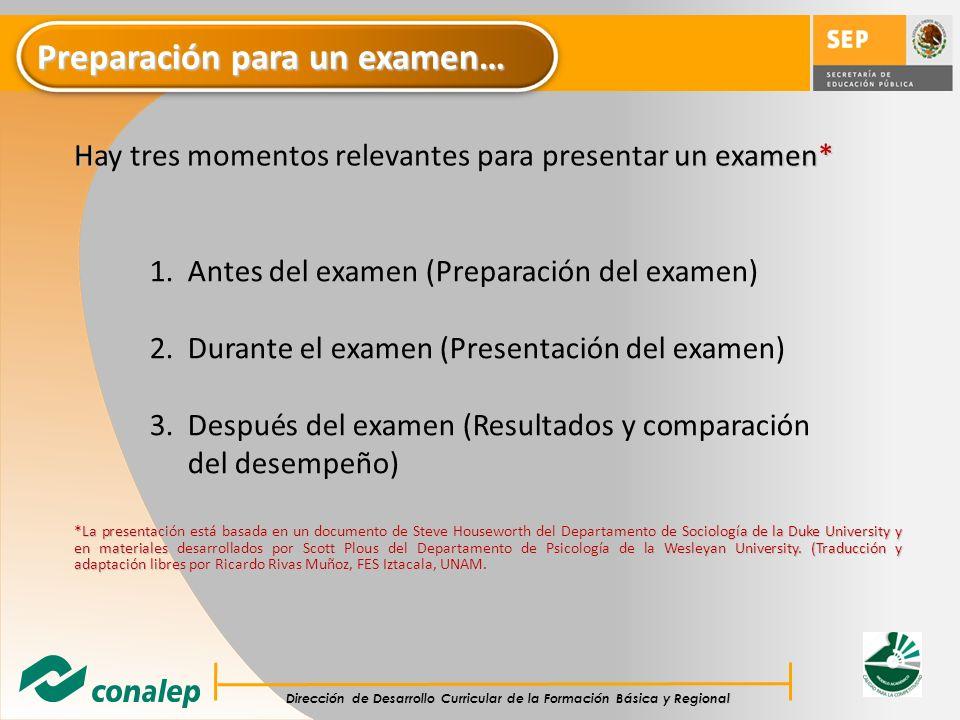 Preparación para un examen…