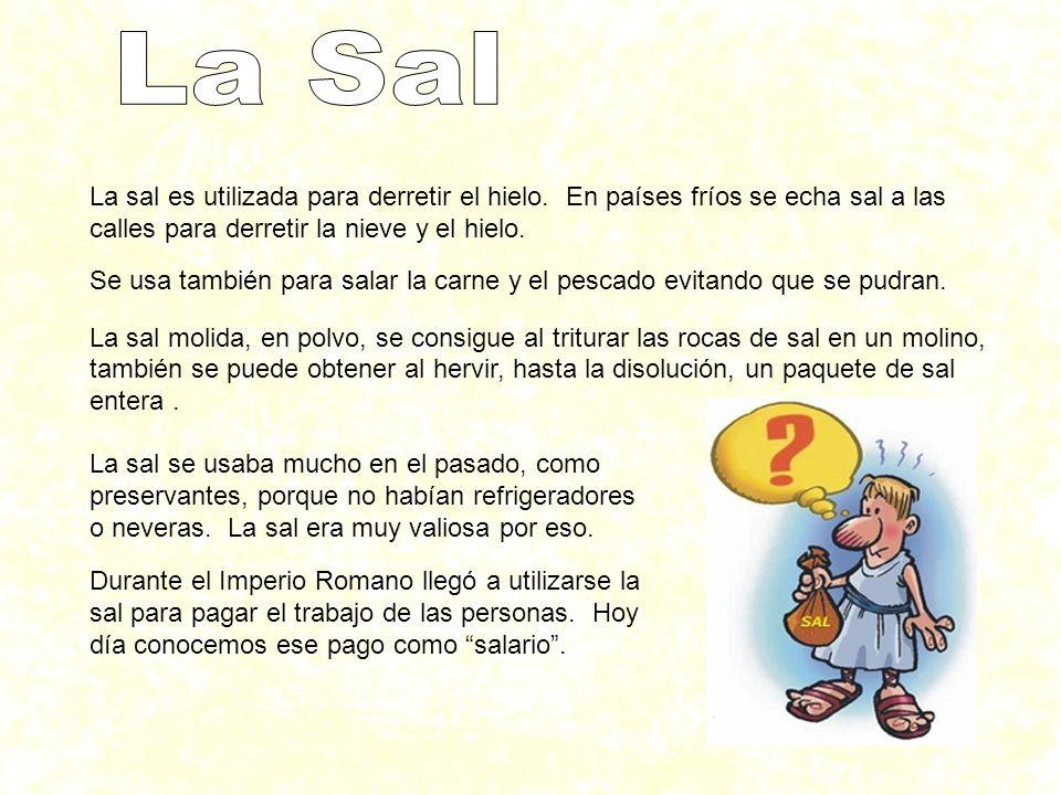 La Sal La sal es utilizada para derretir el hielo. En países fríos se echa sal a las calles para derretir la nieve y el hielo.