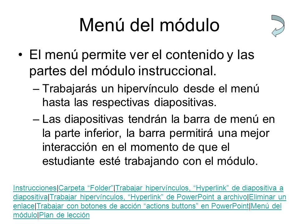 Menú del módulo El menú permite ver el contenido y las partes del módulo instruccional.