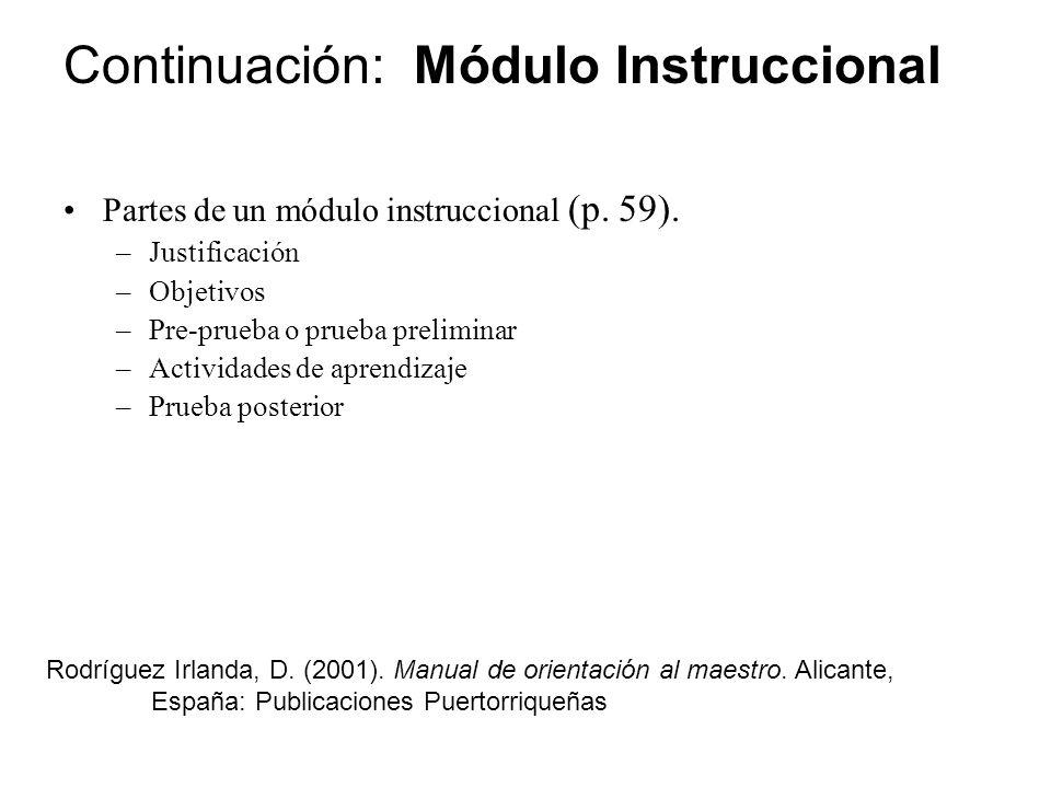 Continuación: Módulo Instruccional
