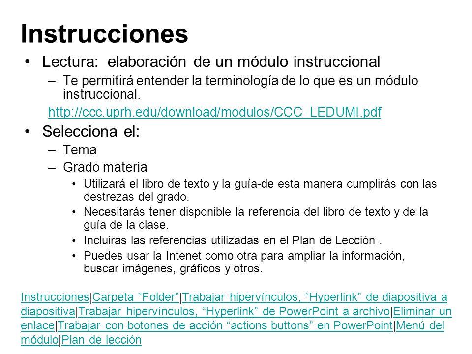 Instrucciones Lectura: elaboración de un módulo instruccional