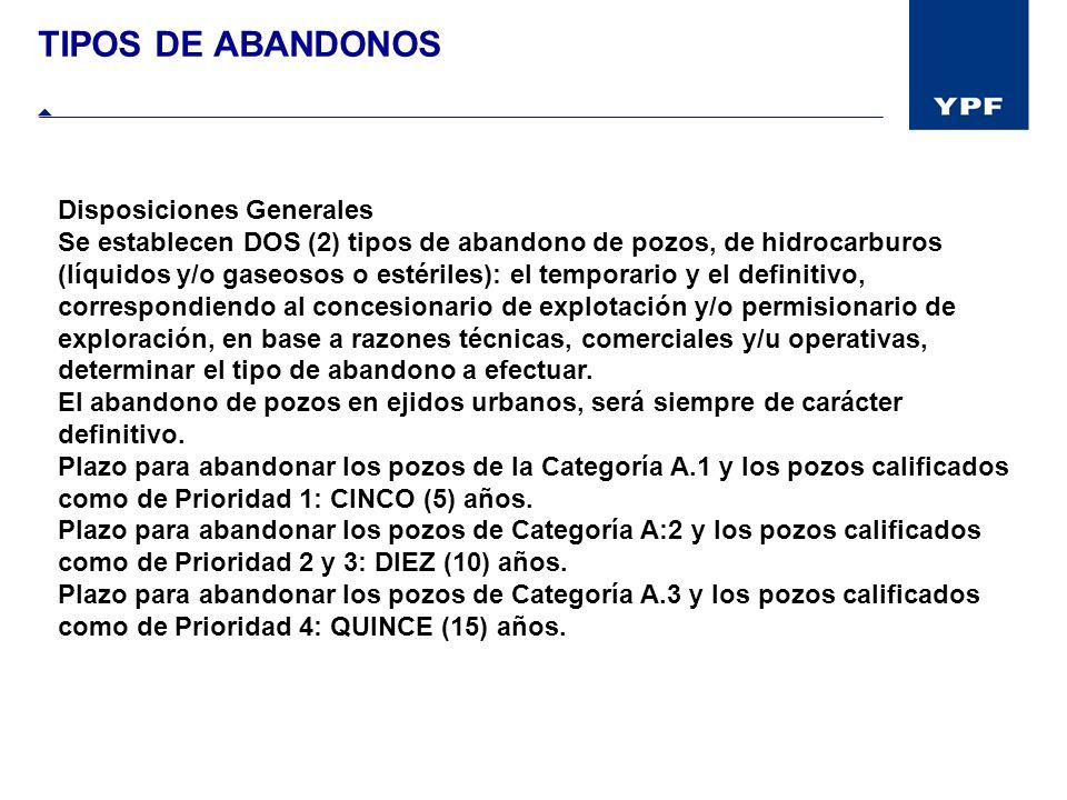 TIPOS DE ABANDONOS Disposiciones Generales