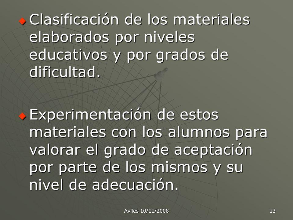 Clasificación de los materiales elaborados por niveles educativos y por grados de dificultad.