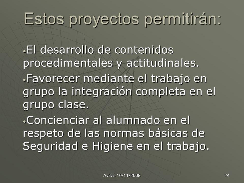 Estos proyectos permitirán: