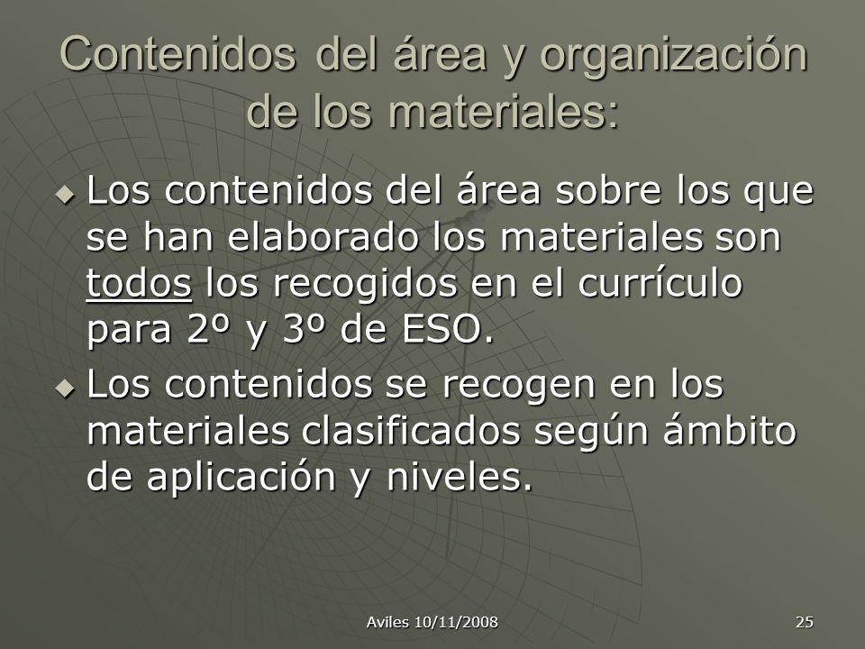 Contenidos del área y organización de los materiales:
