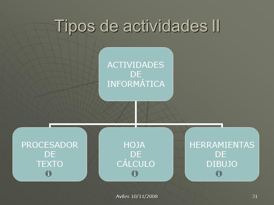 Tipos de actividades II