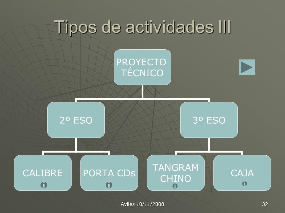 Tipos de actividades III