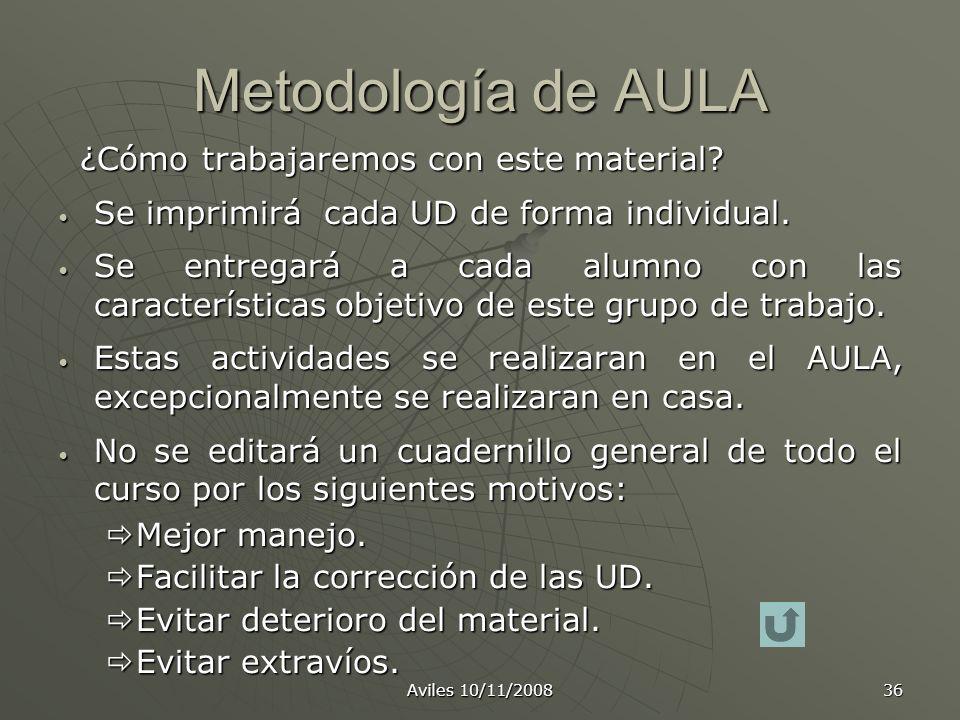 Metodología de AULA Se imprimirá cada UD de forma individual.