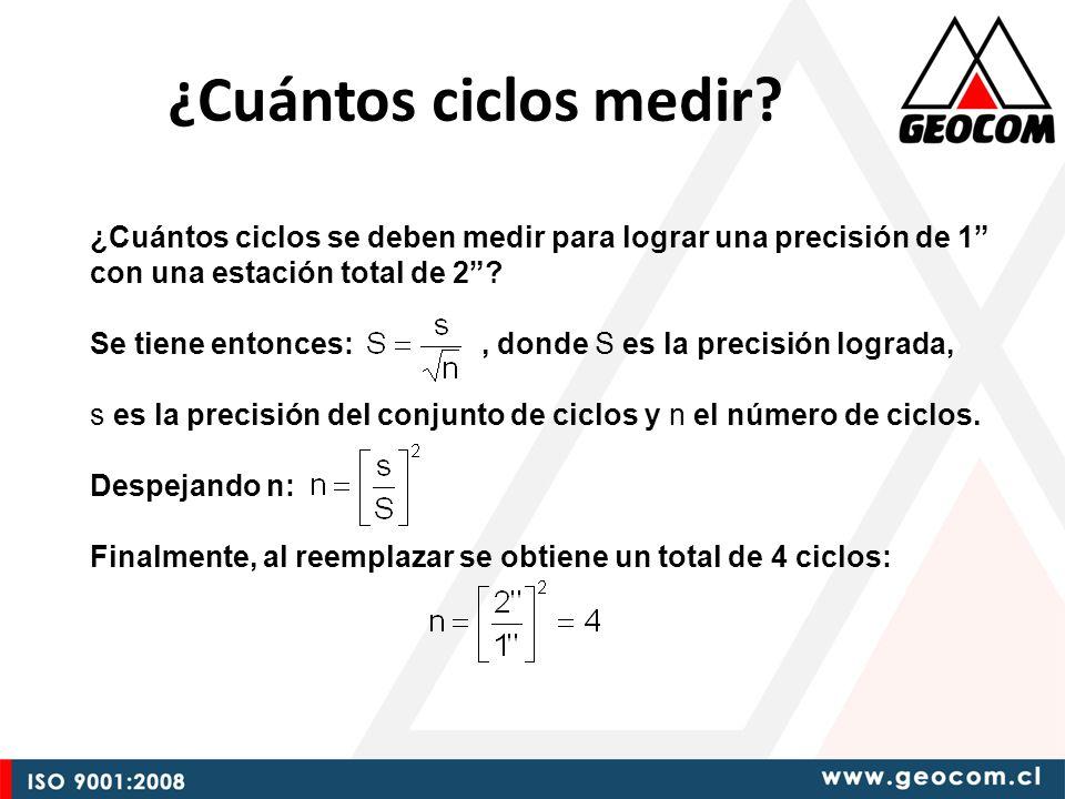 ¿Cuántos ciclos medir ¿Cuántos ciclos se deben medir para lograr una precisión de 1 con una estación total de 2