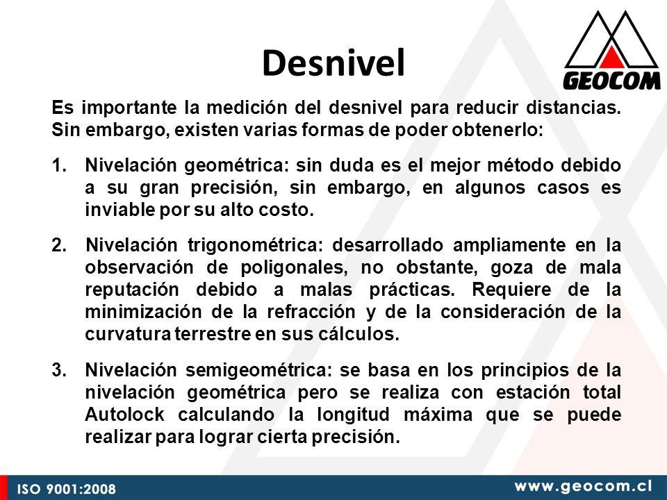 Desnivel Es importante la medición del desnivel para reducir distancias. Sin embargo, existen varias formas de poder obtenerlo: