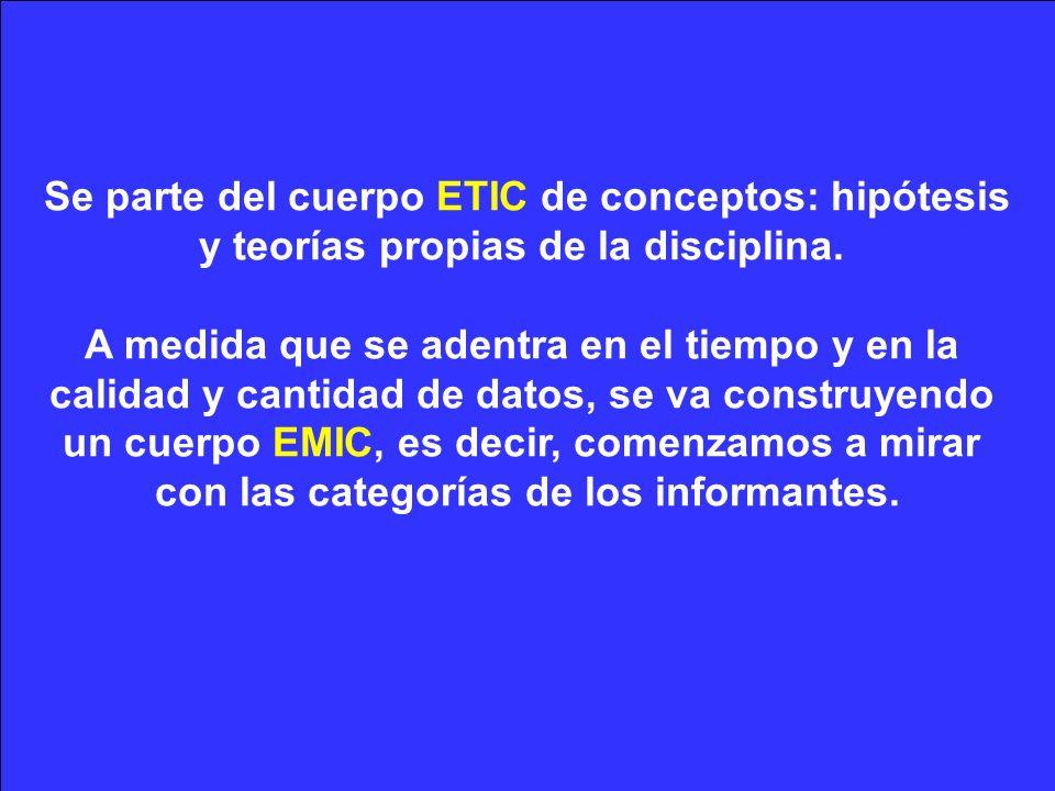 Se parte del cuerpo ETIC de conceptos: hipótesis