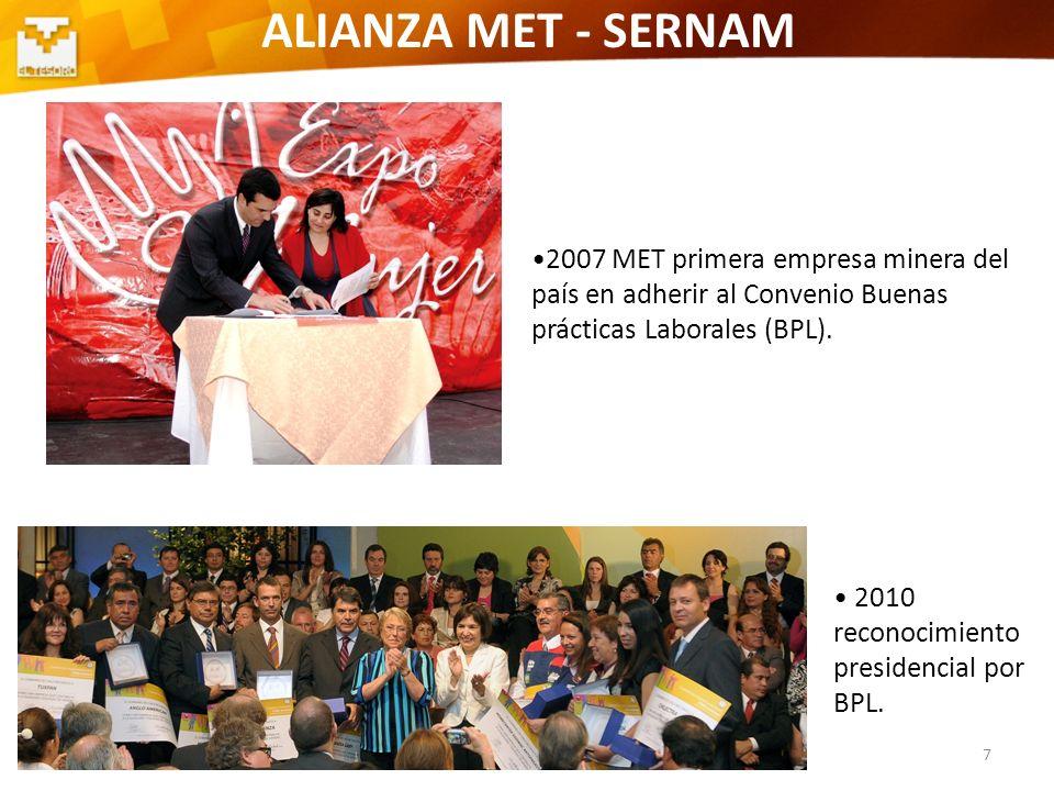 ALIANZA MET - SERNAM2007 MET primera empresa minera del país en adherir al Convenio Buenas prácticas Laborales (BPL).