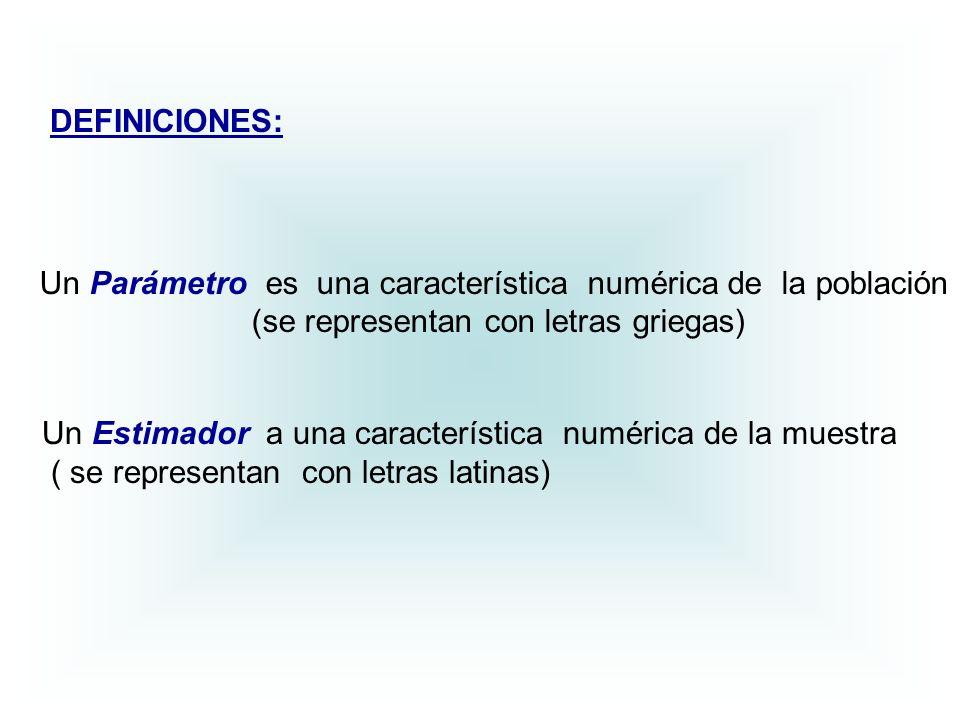 Un Parámetro es una característica numérica de la población