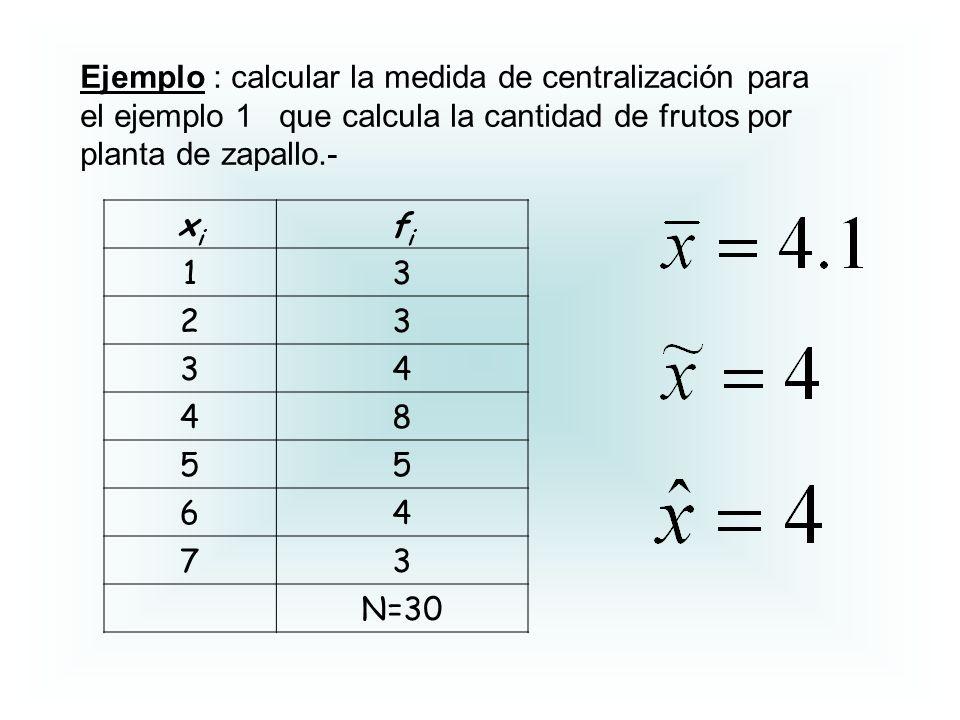 Ejemplo : calcular la medida de centralización para el ejemplo 1 que calcula la cantidad de frutos por planta de zapallo.-